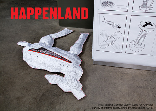 Happenland invitation. Image: Marina Zurkow, Body Bags for Animals